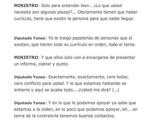Conversación entre el diputado Mario Yanes y el Ministro de Desarrollo