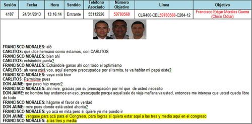 """A través de su hijo Carlos, Jaime Martínez Lohayza hace una cita en el propio Congreso con """"Chico Dólar""""."""