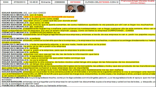 Transcripción de la escucha telefónica presentada por el MP entre Edgar Barquín y alias Chico Dólar.