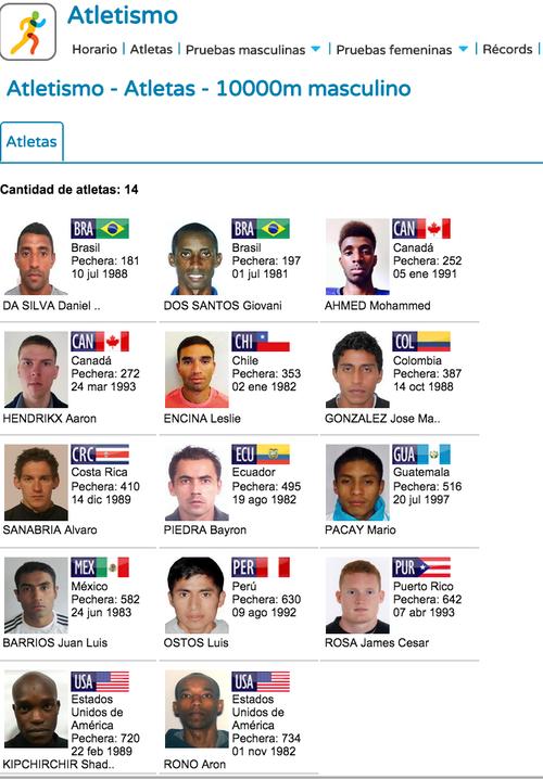 Los atletas que competirán con Mario Pacay en los 10,000 metros.
