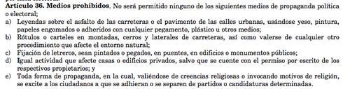 Artículo 36 del Reglamento de la Ley Electoral y de Partidos Políticos.