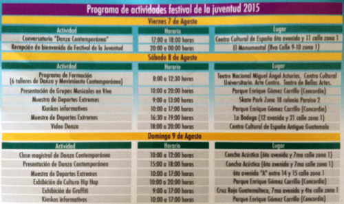 Horario del festival.