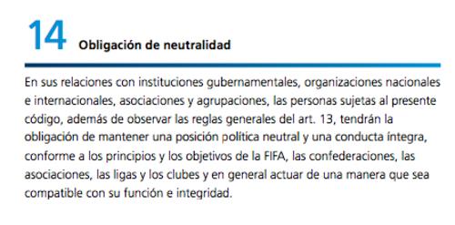 Código de Ética de la FIFA.