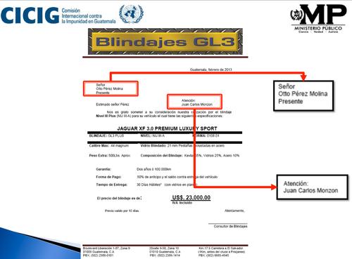 Cotización de blindaje para el cliente Otto Pérez, con atención a Juan Carlos Monzón.