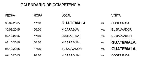 El calendario de competencias.