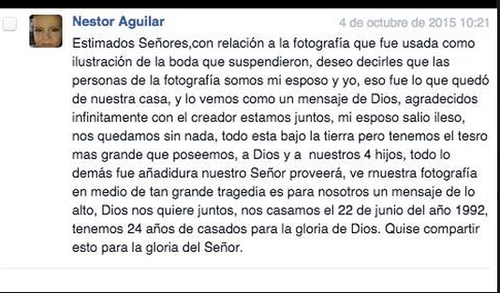 Esta fue la nota de doña Mayra Solís, recibida en Soy502 tras la publicación de la foto de boda.