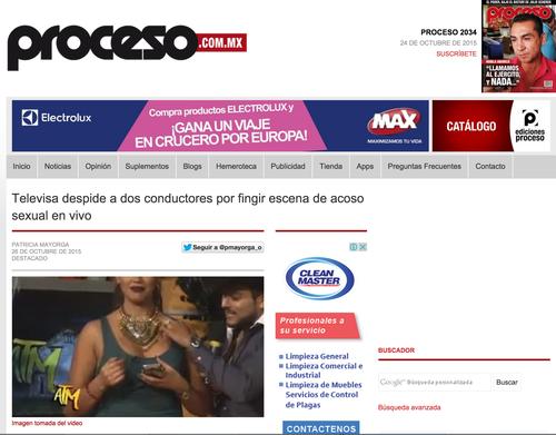 Esta noticia de la prestigiosa revista Proceso, de México, confirma que ambos conductores fueron despedidos por Televisa.