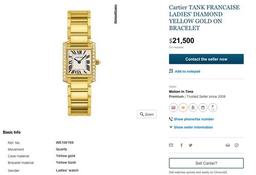 Precios del Cartier Tank Francaise en internet.