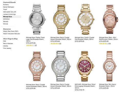 Precios de los relojes Michael Kors en la tienda de departamentos Nordstrom.