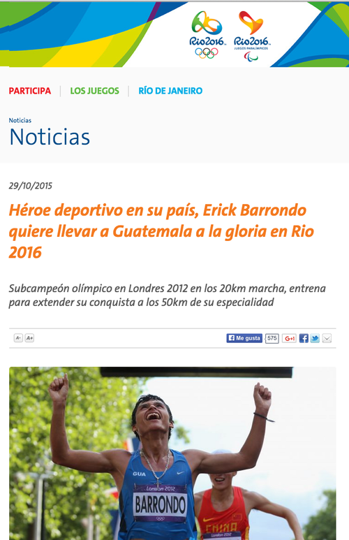 En la página oficial de Río de Janeiro 2016, le hicieron una nota al guatemalteco Erick Bernabé Barrondo García.