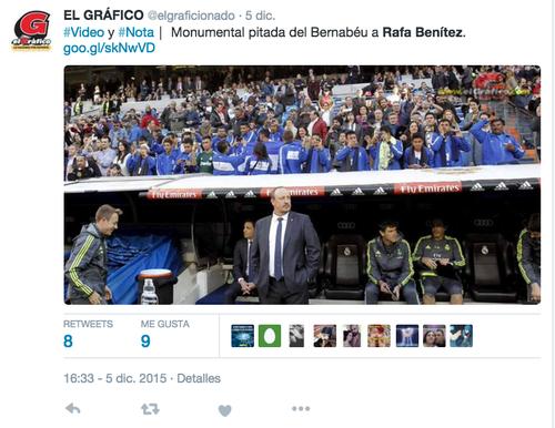 En el último partido en el Bernabéu, Benítez fue silbado por la afición blanca.