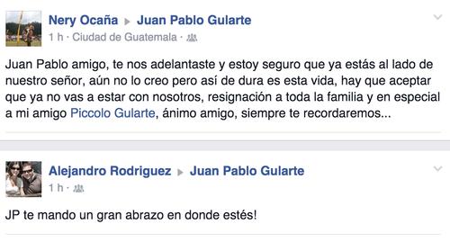 Tras conocer la noticia, muchos amigos de Juan Pablo le escribieron en el muro de Facebook.