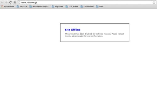 La página web se mantiene fuera de línea.