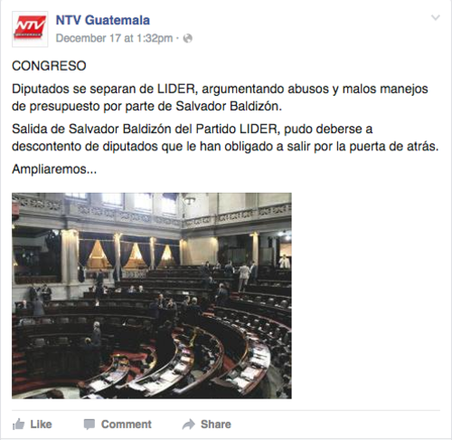 La última publicación en redes sociales de NTV.