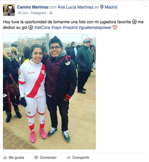 Ana Lucía compartió el gol con su hermano Camilo, quien está de visita en España.