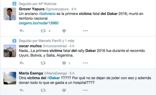 El descontento de muchas personas con los riesgos del Rally Dakar.