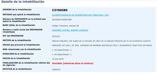La inhabilitación publicada en Guatecompras.