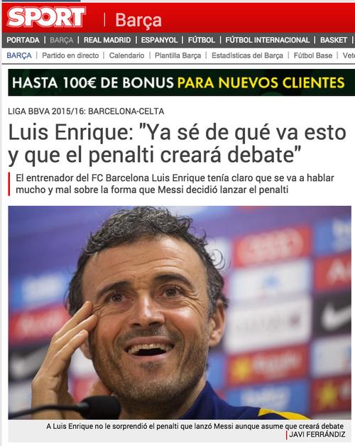 Luis Enrique también habló del penal de Messi.