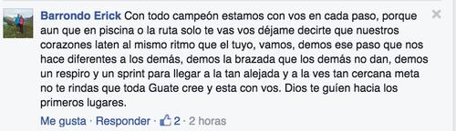 """Este mensaje de apoyo le escribió Erick Barrondo a Charles Fernández. """"Nuestros corazones laten al mismo tiempo que el tuyo""""."""