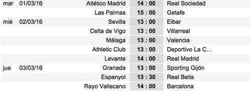 Así se jugará la jornada 27 en la Liga española. (tomado de www.soccerway.com)