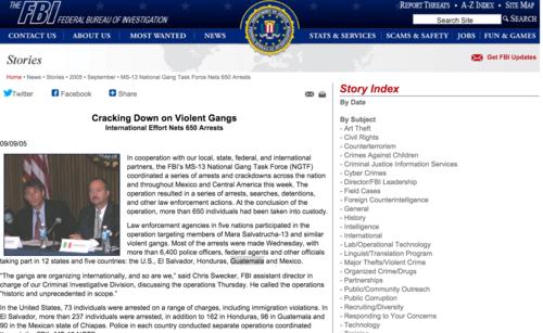 La página del FBI anuncia cooperación en la lucha contra las pandillas a Guatemala desde 2005.