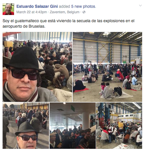 Salazar mostró las condiciones en las que estaban comiendo y durmiendo en bodegas del aeropuerto.