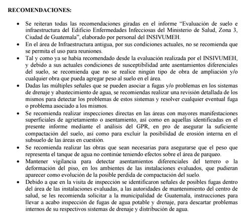 Recomendaciones del Informe de Evaluación GPR del Centro de Salud ITS, Zona 3 de la Conred.