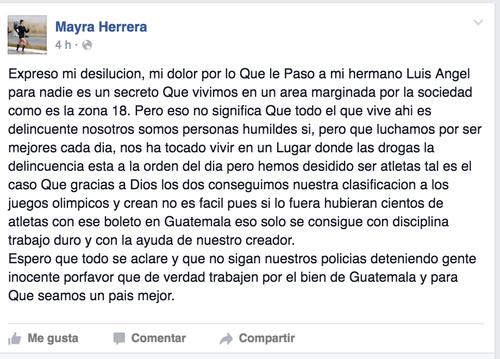 Esto escribió Mayra Herrera desde Portugal.