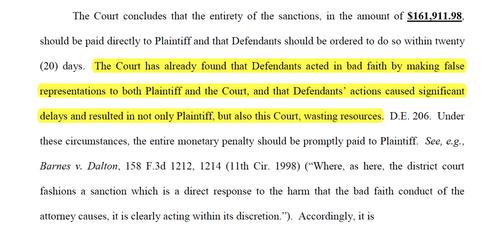La juez indica que los demandados actuaron de mala en esta parte del documento.