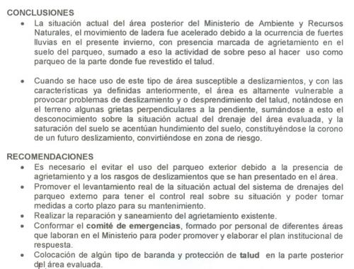 Recomendaciones y conclusiones del dictamen. (Foto: Conred)