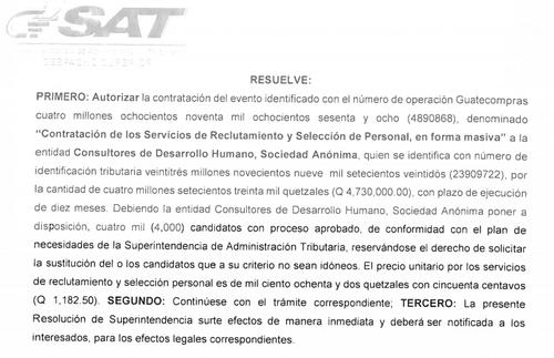 Resolución de la adjudicación. (Foto: Guatecompras)