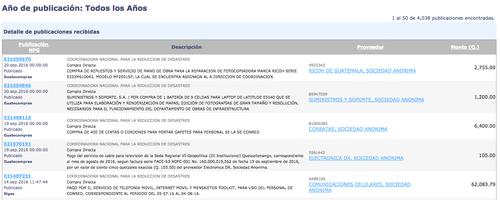 Listado de las últimas compras de Conred. (Foto: Guatecompras)