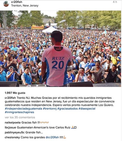 El mensaje de Carlos Ruiz en Instagram.