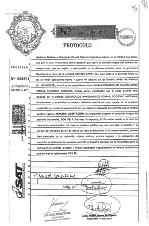 Este documento se firmó el 22 de febrero de 2016. (Imagen: Soy502)