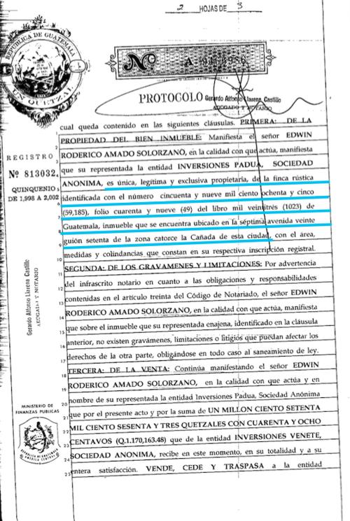 Esta compraventa se realizó entre la empresa Inversiones Venete e Inversiones Padua el 16 de mayo de 2002. (Imagen: Soy502/Registro de la Propiedad)