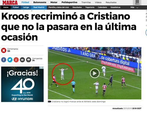 El alemán Kroos le pidió a CR7 la pelota, pero el portugués no asistió a tiempo.