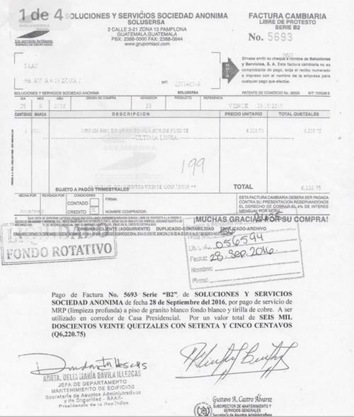Imagen de una de las facturas que facilitó SAAS. (Foto: Gobierno)