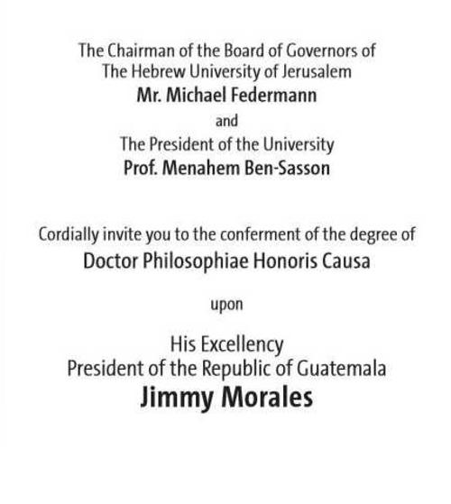 Invitación por parte de la universidad. (Foto: Universidad Hebrea de Jerusalem)