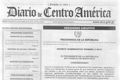 Publicación del Decreto 5-2015 en el Diario Oficial.