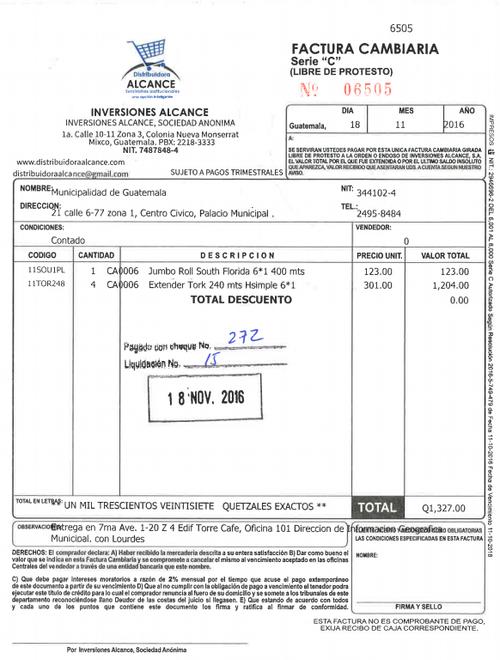 Última factura registrada. (Foto: Guatecompras)