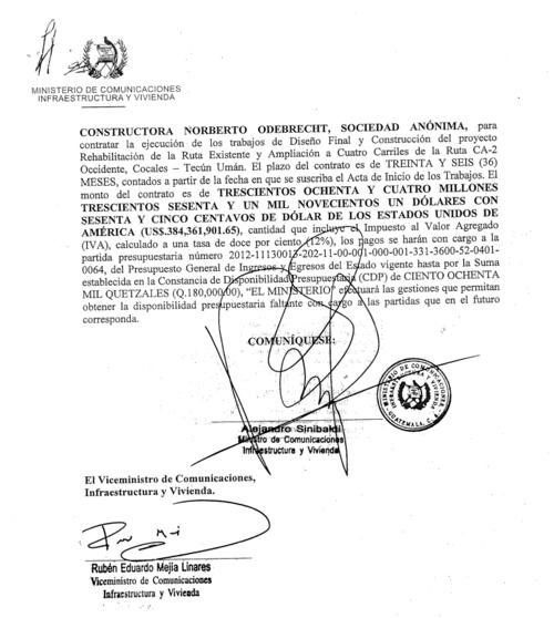 El exministro de Comunicaciones, Alejandro Sinibaldi, avaló la contratación de Oderbrecht. (Foto: José Miguel Castañeda/Soy502)