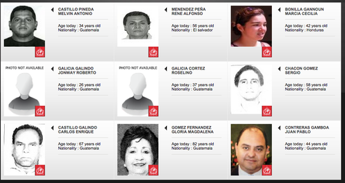 Así se muestra la primera pantalla de búsqueda de la página de la Interpol, sobre los requeridos por Guatemala.