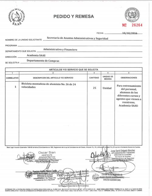 La solicitud de compra se hizo el 10 de octubre de 2016. (Foto: captura de pantalla)