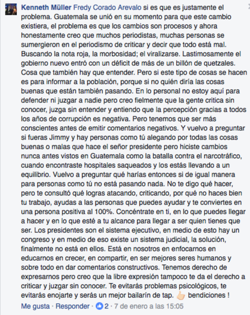 Esta fue la respuesta del cineasta ante una crítica hacia el presidente Jimmy Morales. (Foto: captura de pantalla/Facebook)