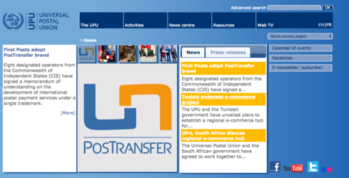 Portada de la web de la Universal Postal Union.
