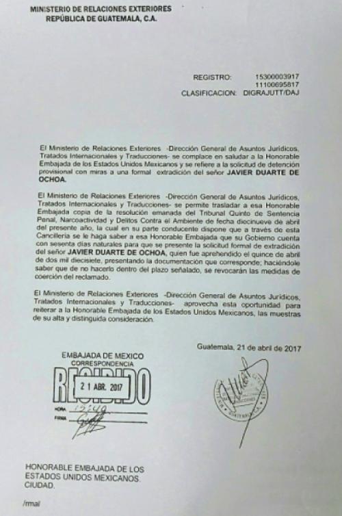 Carta oficial del Minex a la Embajada. (Foto: Minex)