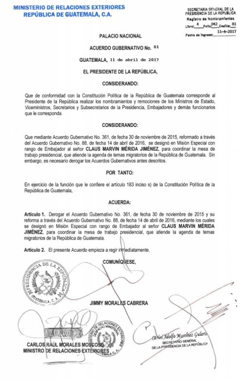 Copia del acuerdo gubernativo. (Foto: Soy502)