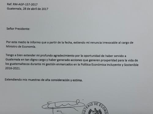 Carta de renuncia de Rubén Morales. (Foto: Twitter)