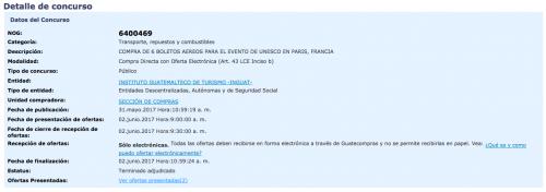 Compra de boletos de Inguat. (Foto: Guatecompras)