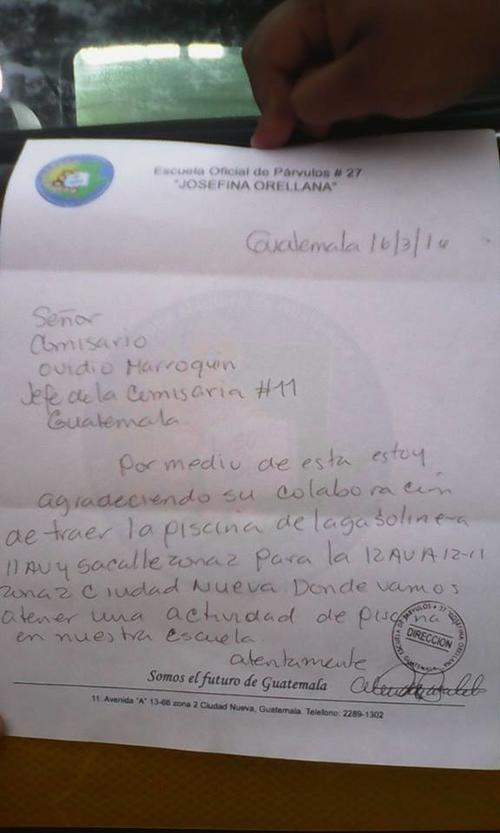 Esta es la carta de agradecimiento de la directora a la PNC.